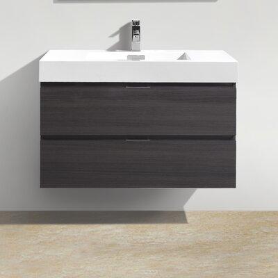 Tenafly 36 Single Wall Mount Modern Bathroom Vanity Set Base Finish: High Gloss Gray Oak