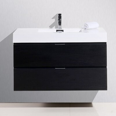 Tenafly 40 Single Wall Mount Modern Bathroom Vanity Set Base Finish: Black