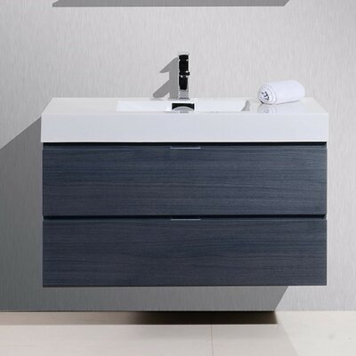 Tenafly 40 Single Wall Mount Modern Bathroom Vanity Set Base Finish: Gray Oak
