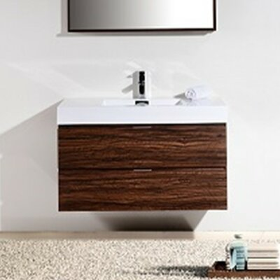 Tenafly 40 Single Wall Mount Modern Bathroom Vanity Set Base Finish: Walnut