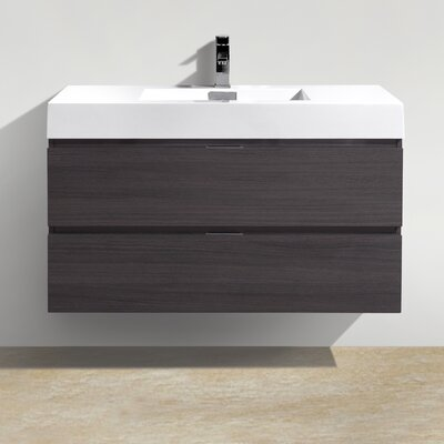 Tenafly 40 Single Wall Mount Modern Bathroom Vanity Set Base Finish: High Gloss Gray Oak