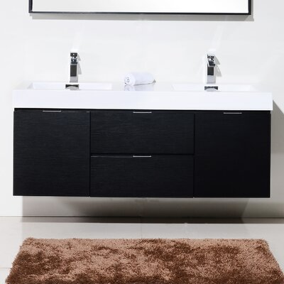 Tenafly 60 Double Wall Mount Modern Bathroom Vanity Set Base Finish: Black