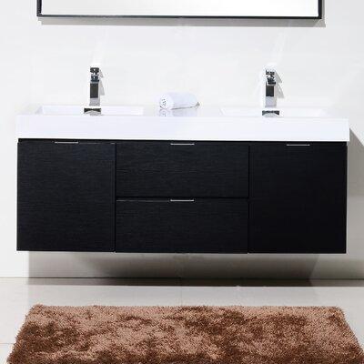 Tenafly 60 Double Wall Mount Modern Bathroom Vanity Set Base Finish: Black
