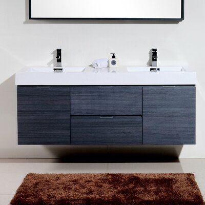 Tenafly 60 Double Wall Mount Modern Bathroom Vanity Set Base Finish: Gray Oak