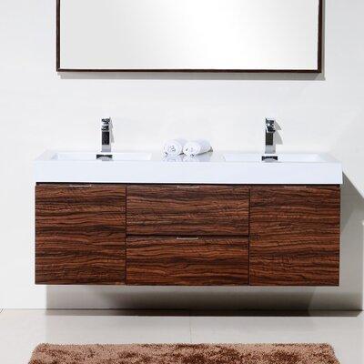 Tenafly 60 Double Wall Mount Modern Bathroom Vanity Set Base Finish: Walnut
