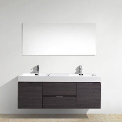 Tenafly 60 Double Wall Mount Modern Bathroom Vanity Set Base Finish: High Gloss Gray Oak