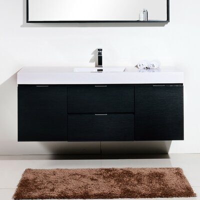 Tenafly 60 Single Bathroom Vanity Set Base Finish: Black