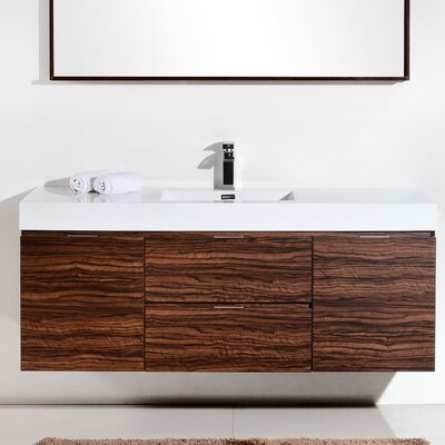 Tenafly 60 Single Wall Mount Modern Bathroom Vanity Set Base Finish: Walnut