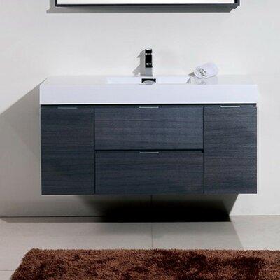 Tenafly 48 Single Wall Mount Modern Bathroom Vanity Set Base Finish: Gray Oak