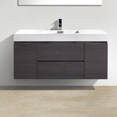 Tenafly 48 Single Wall Mount Modern Bathroom Vanity Set Base Finish: High Gloss Gray Oak