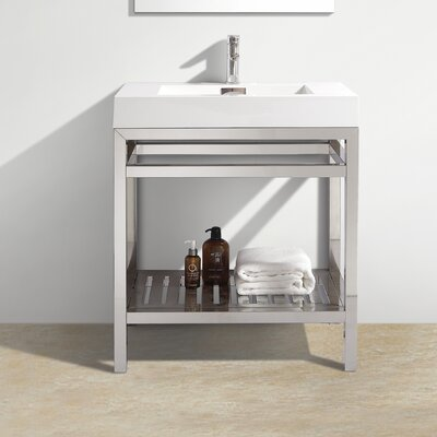Hammonton 30 Modern Stainless Steel Vanity Base