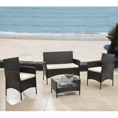 Woodland Park 4 Piece Patio Deep Seating Group with Cushions Finish: Espresso