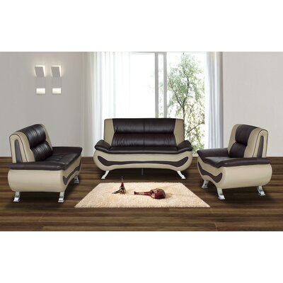 Berkeley Heights 3 Piece Living Room Set Upholstery: Beige/Brown