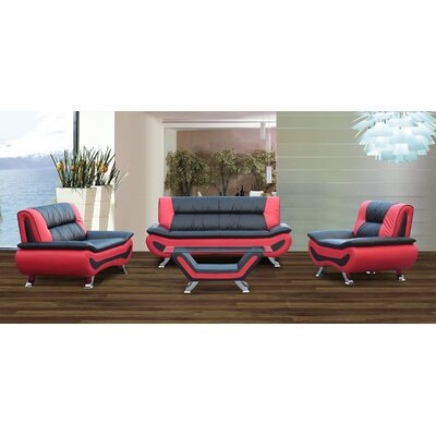 Berkeley Heights 3 Piece Living Room Set Upholstery: Black/Red