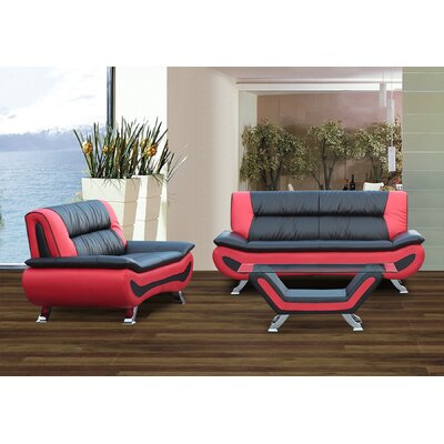 Berkeley Heights 2 Piece Living Room Set Upholstery: Black/Red