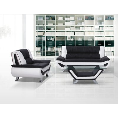 Berkeley Heights 2 Piece Living Room Set Upholstery: Black/White