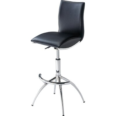 Guttenberg Adjustable Height Swivel Bar Stool (Set of 2) Upholstery: Black