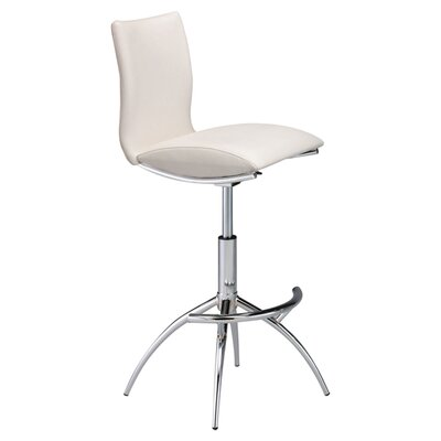 Guttenberg Adjustable Height Swivel Bar Stool (Set of 2) Upholstery: White