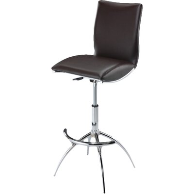 Guttenberg Adjustable Height Swivel Bar Stool (Set of 2) Upholstery: Brown
