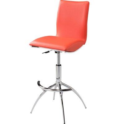 Guttenberg Adjustable Height Swivel Bar Stool (Set of 2) Upholstery: Orange