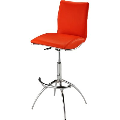 Guttenberg Adjustable Height Swivel Bar Stool (Set of 2) Upholstery: Red