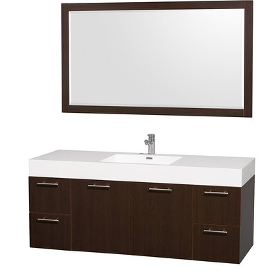 Amare 60 Single Espresso Bathroom Vanity Set with Mirror
