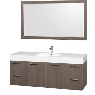 Amare 60 Single Gray Oak Bathroom Vanity Set with Mirror