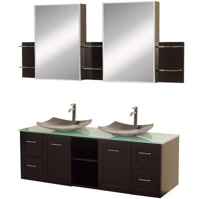 Avara 60 Double Bathroom Vanity Set with Medicine Cabinet Top Finish: Green Glass, Sink Finish: Black Granite