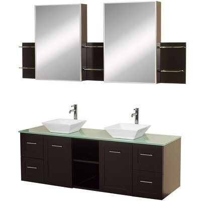 Avara 60 Double Bathroom Vanity Set with Medicine Cabinet Top Finish: Green Glass, Sink Finish: White Porcelain