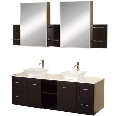 Avara 60 Double Bathroom Vanity Set with Medicine Cabinet Top Finish: White Man-Made Stone, Sink Finish: White Porcelain