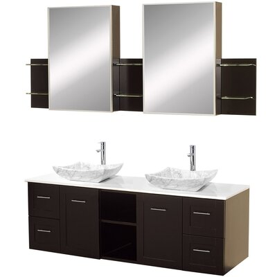 Avara 60 Double Bathroom Vanity Set with Medicine Cabinet Top Finish: White Man-Made Stone, Sink Finish: White Carrera Marble