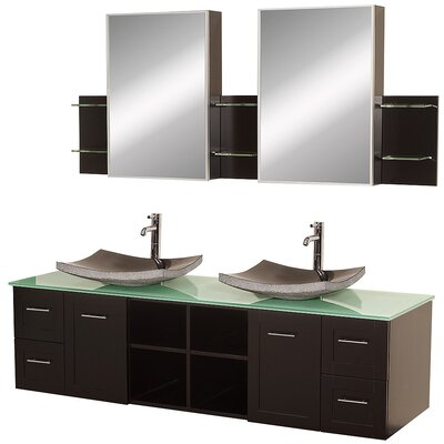 Avara 72 Double Bathroom Vanity Set with Medicine Cabinet Top Finish: Green Glass, Sink Finish: Black Granite