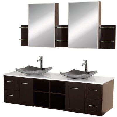 Avara 72 Double Bathroom Vanity Set with Medicine Cabinet Top Finish: White Man-Made Stone, Sink Finish: Black Granite