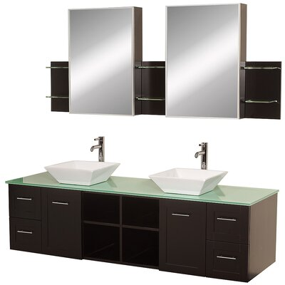 Avara 72 Double Bathroom Vanity Set with Medicine Cabinet Top Finish: Green Glass, Sink Finish: White Porcelain