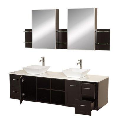 Avara 72 Double Bathroom Vanity Set with Medicine Cabinet Top Finish: White Man-Made Stone, Sink Finish: White Porcelain