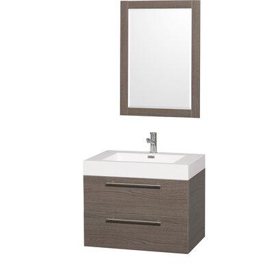 Amare 29 Single Gray Oak Bathroom Vanity Set with Mirror