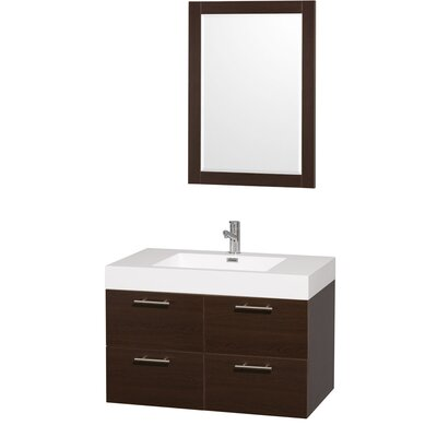 Amare 35 Single Espresso Bathroom Vanity Set with Mirror