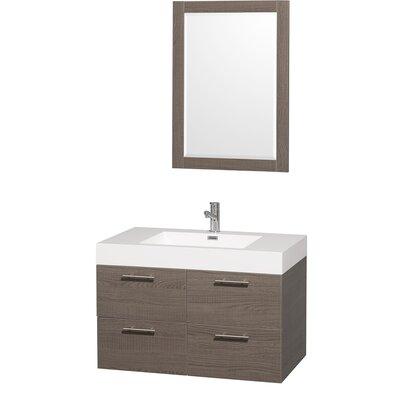 Amare 35 Single Gray Oak Bathroom Vanity Set with Mirror