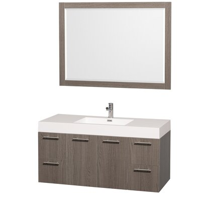 Amare 47 Single Gray Oak Bathroom Vanity Set with Mirror