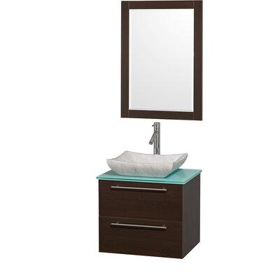 Amare 24 Single Espresso Bathroom Vanity Set with Mirror Top Finish: Green Glass, Sink Finish: White Carrera Marble