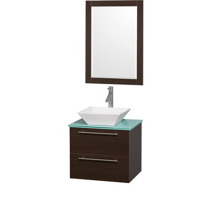 Amare 24 Single Espresso Bathroom Vanity Set with Mirror Top Finish: Green Glass, Sink Finish: White Porcelain