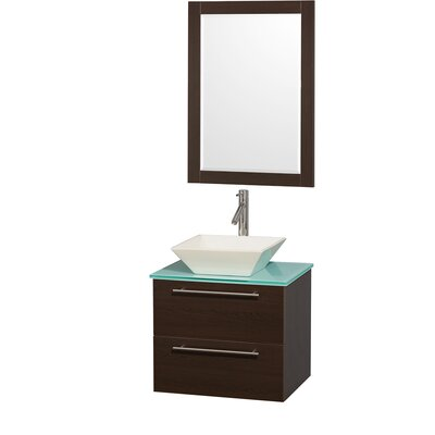 Amare 24 Single Espresso Bathroom Vanity Set with Mirror Top Finish: Green Glass, Sink Finish: Bone Porcelain