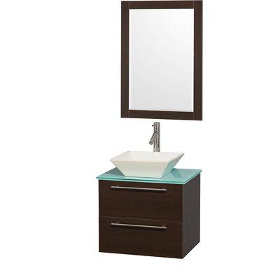 Amare 24 Single Espresso Bathroom Vanity Set with Mirror Top Finish: Green Glass, Sink Finish: Bone Porcelain