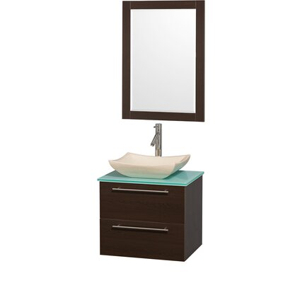 Amare 24 Single Espresso Bathroom Vanity Set with Mirror Top Finish: White Man-Made Stone, Sink Finish: White Carrera Marble