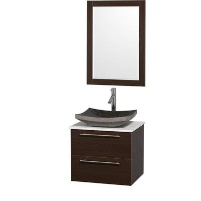 Amare 24 Single Espresso Bathroom Vanity Set with Mirror Top Finish: White Man-Made Stone, Sink Finish: Black Granite