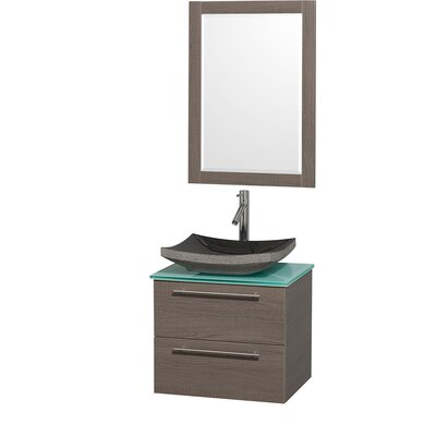 Amare 24 Single Gray Oak Bathroom Vanity Set with Mirror Top Finish: Green Glass, Sink Finish: White Carrera Marble