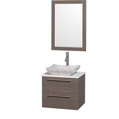 Amare 24 Single Gray Oak Bathroom Vanity Set with Mirror Top Finish: White Man-Made Stone, Sink Finish: Black Granite