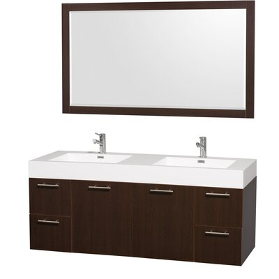 Amare 60 Double Espresso Bathroom Vanity Set with Mirror
