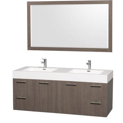 Amare 60 Double Gray Oak Bathroom Vanity Set with Mirror