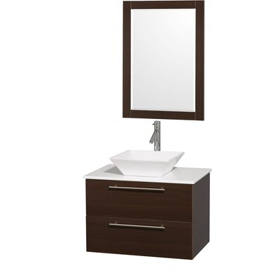 Amare 30 Single Espresso Bathroom Vanity Set with Mirror Top Finish: White Man-Made Stone, Sink Finish: Bone Porcelain